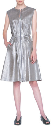 Akris Punto Metallic Poplin Zip-Front Dress