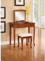 Linon Home Décor Ruby Off White Polyester Seat Flip Top Vanity Set in Cherry