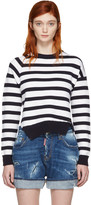 DSQUARED2 White & Navy Striped Sweater
