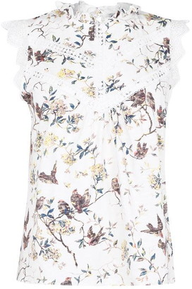 Oasis Bird Print Lace Shell Top