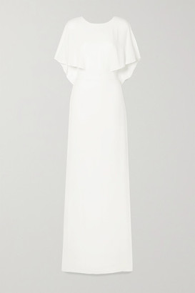 Halston Cape-effect Crepe De Chine Gown - Off-white