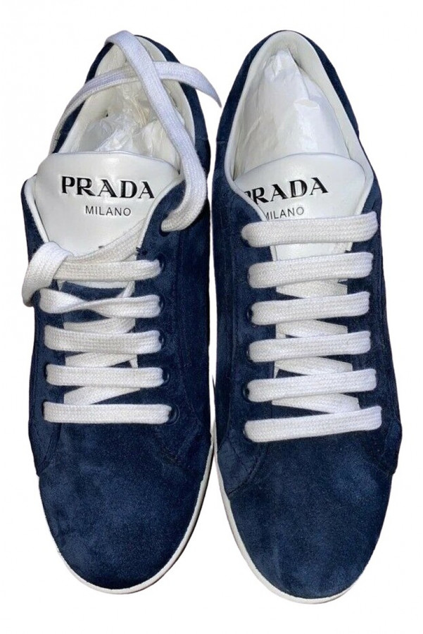 Prada Blue Suede Sneakers - ShopStyle