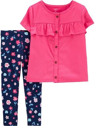 Carter's Baby Girl Button-Front Sateen Top & Floral Legging Set