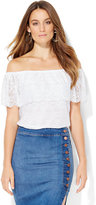 New York & Co. Tiered Lace Off-The-Shoulder Blouse