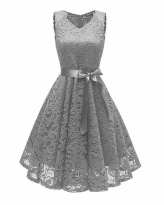 HaoHuodress Women's V Neck Bridesmaid Dress Floral Lace Knee Length Sleeveless Ribbon Bow Cocktail Party Dress Pink