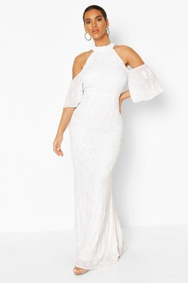 boohoo Bridemaid Hand Embellished Cold Shoulder Maxi
