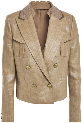 Brunello Cucinelli Double-breasted Embellished Coated-linen Blazer