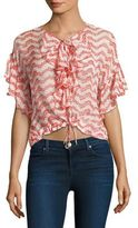 The Kooples Ruffled Lace-Up Silk Blouse