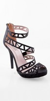 Camille La Vie High Heel Laser Cut Sparkle Platform Sandal