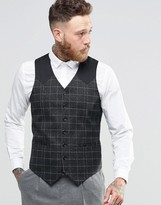 Asos Skinny Waistcoat In Grid Check