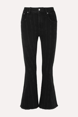 Thierry Mugler Frayed Paneled Mid-rise Flared Jeans - Black
