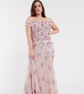 Goddiva Plus off shoulder embellished sequin dress in rose pink