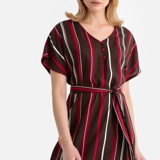 Anne Weyburn Striped Draping Tie-Waist Midi Dress