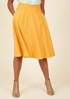 Shaoxing Lidong Trading Co Just This Sway Midi Skirt in Goldenrod