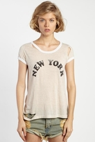 Rebel Yell New York Torn Ringer Tee in Natural