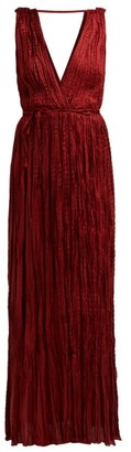 Mes Demoiselles Semsema Crinkled-silk Maxi Dress - Womens - Burgundy