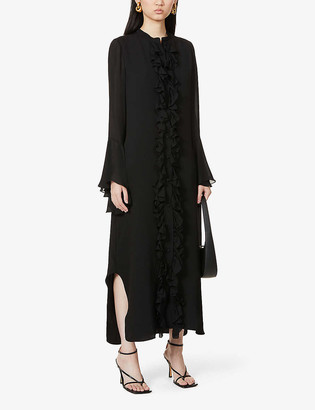 KHAITE Callen ruffled silk-crepe midi dress
