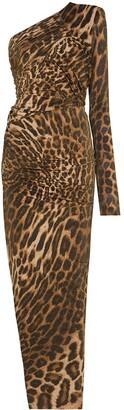Alexandre Vauthier One-Shoulder Leopard-Print Maxi Dress