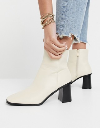 Raid Paulina square-toe ankle boots in off-white