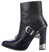 Toga Embossed Buckle-Accented Ankle Boots