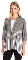 Alfred Dunner Women's Petite Striped Knit Cardigan Sweater