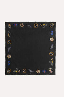 Alexander McQueen Cameo Oversized Frayed Silk-jacquard Scarf - Black