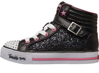 Skechers Girls Twinkle Toes Shuffles All Over Rock Glitter High Tops Black/Hot Pink
