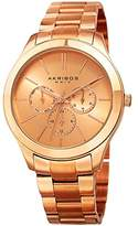 Akribos XXIV Women's Multi-Function With Rose-Tone Sunray Dial and Rose-Tone Stainless Steel Bracelet Watch AK952RG