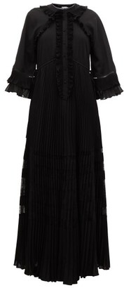 Self-Portrait Ruffle-trimmed Chiffon Maxi Dress - Black