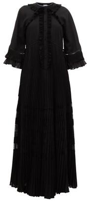 Self-Portrait Self Portrait Ruffle-trimmed Chiffon Maxi Dress - Womens - Black
