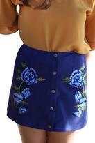 BB Dakota Blue Embroidered Skirt