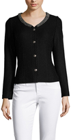 St. John Textured Embellished Neck Jacket