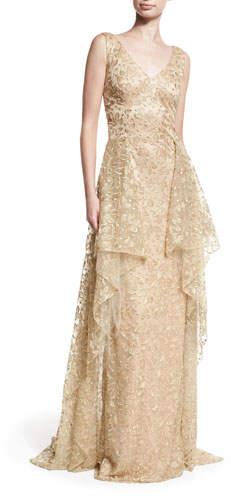 David Meister V-Neck Sleeveless Embroidered Tulle Evening Gown w/ Overskirt