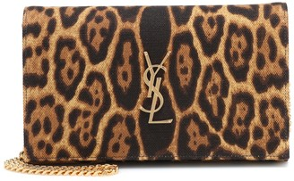 Saint Laurent Kate leopard-print clutch