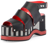 Proenza Schouler Striped Platform Leather Sandal, Black