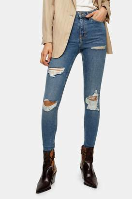 Topshop Womens Considered Mid Blue Super Rip Jamie Jeans With Recycled Cotton - Mid Stone