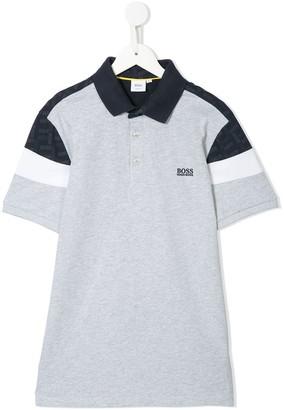 Boss Kidswear TEEN colour block polo shirt