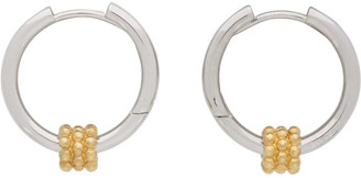 Avgvst Jewelry Silver and Gold Beaded Pendant Hoop Earrings