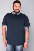 Yours Clothing BadRhino Navy Short Sleeve Stripe Collar Polo Shirt