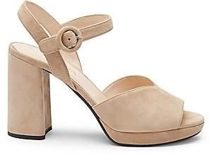 Prada Women's Platform Peep-Toe Suede Sandals