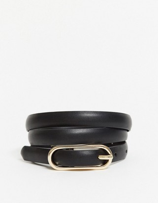 Topshop oval buckle skinny belt in black
