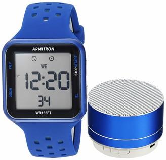 Armitron Sport Armitron Unisex Sport 40/8448BLBLST Grey Accented Digital Chronograph Blue Silicone Strap Watch and Mini Bluetooth Speaker