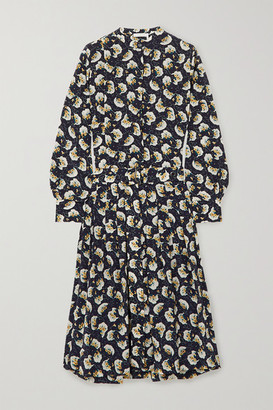 Chloé Belted Floral-print Silk Crepe De Chine Midi Dress - Navy