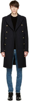 Balmain Navy Double-Breasted Wool Coat