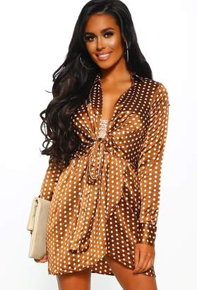 Pink Boutique Dotted Up Bronze Polka Dot Tie Front Shirt Dress