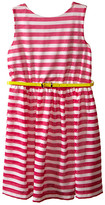 Us Angels Scuba & Mesh Sleeveless Bow Back Dress w/ Belt & Full Skirt (Big Kids)