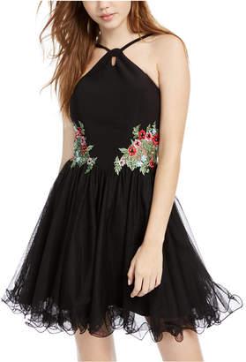 Blondie Nites Juniors' Floral-Applique Mesh Fit & Flare Dress