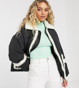 Monki oversized puffer jacket with borg detailing in black