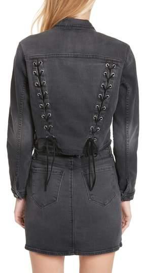 L'Agence Women's Zuma Lace Up Crop Denim Jacket