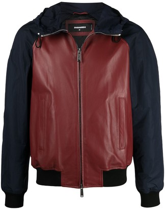 DSQUARED2 Panelled Zip-Up Leather Jacket